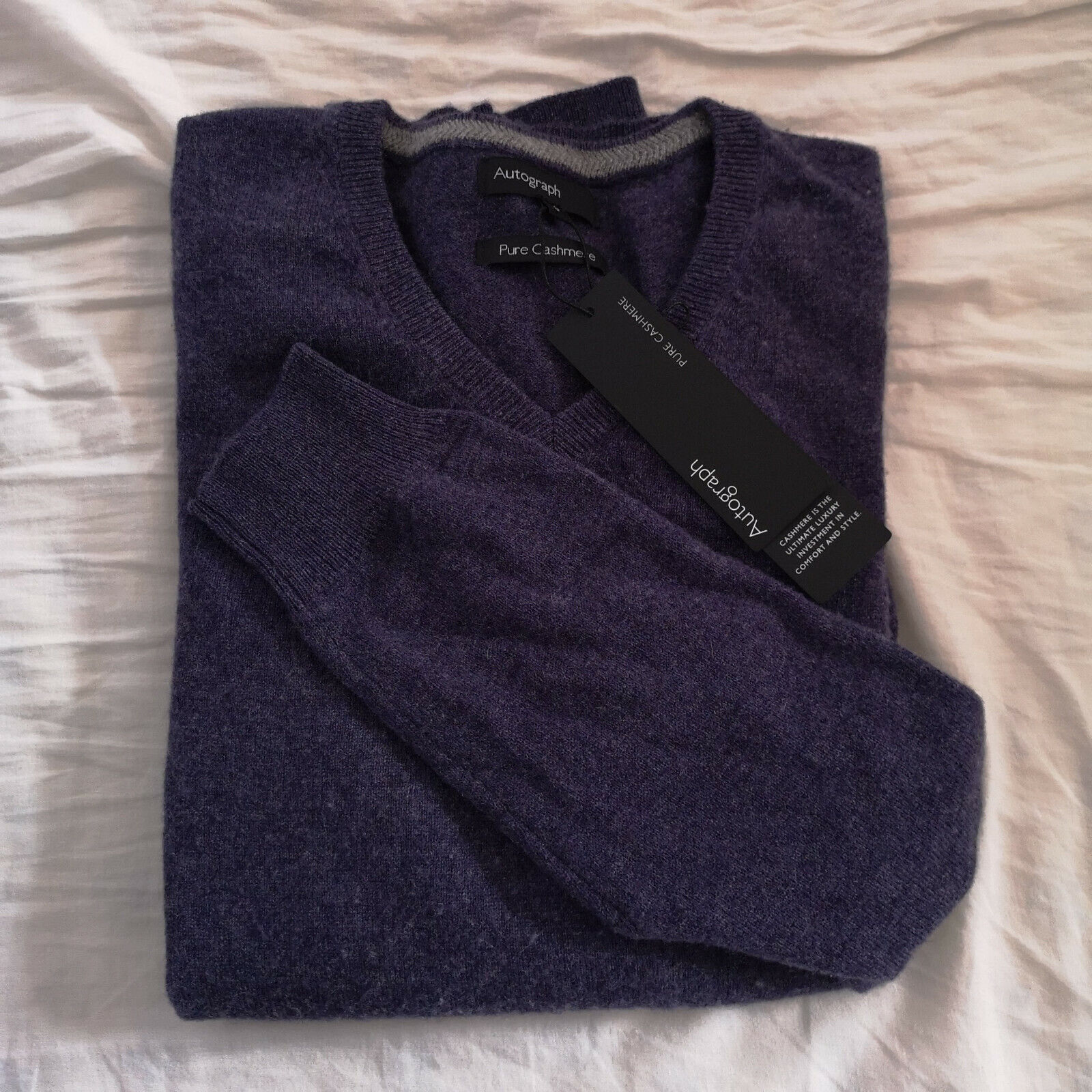 M&S herren Light lila Pure Cashmere V-Neck Jumper Größe klein BNWT