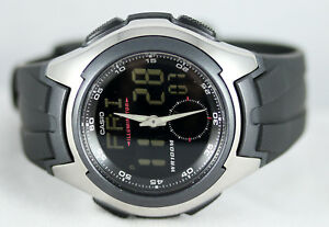 Casio-AQ160W-1BV-Men-039-s-Watch-Analog-Digital-100M-WR-World-Time-Active-Dial-New