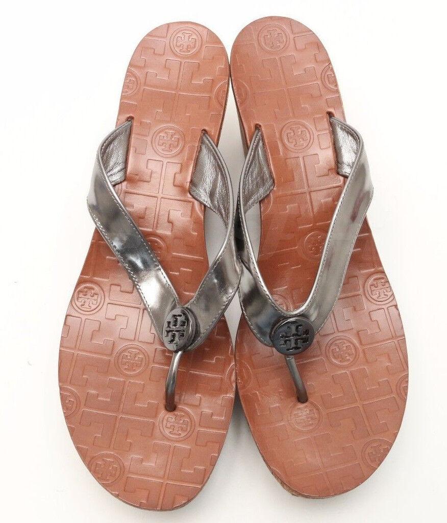 TORY BURCH Thora 7480 Silver Patent Leder Leder Leder Wedge Flip Flop Thong  Schuhes 9.5 M be9d30