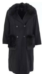 6 de abrigo 8 Millen sintᄄᆭtica piel largo talla botonadura Bnwt doble negra Karen con nOxEF