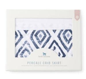 Little Unicorn Percale Crib Skirt 52x28x12 Black BLUE TOPAZ 100% Cotton