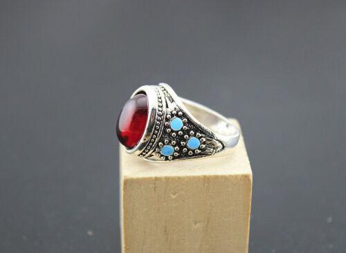 bagues métal argenté rouge et turquoise ovale fantaisie chic