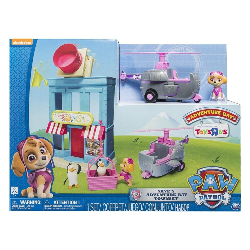 PAW PATROL SKYES ADVENTURE BAY TOWN PLAY SET Helicopter Shop Penguins Kids Toys