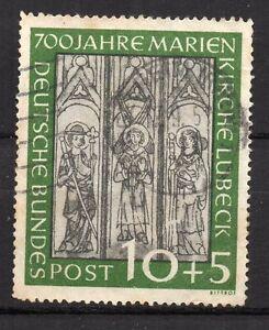 Germany-1951-10-5-Pfennig-700-th-Anniv-Lubeck-Marie-Church-used
