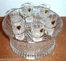Waterford Lismore Diamond Vodka Set Chill Bowl & 6 Shot Glasses 156508 NEW