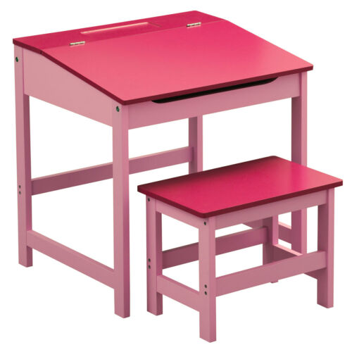 Kids Desk And Stool Set Pink Hinged Lid Storage Bedroom Playroom