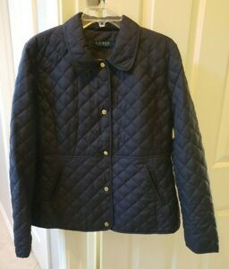 Lauren Ralph Lauren Quilted Jacket NAVY with Brown Faux Leather Trim  Large NEW