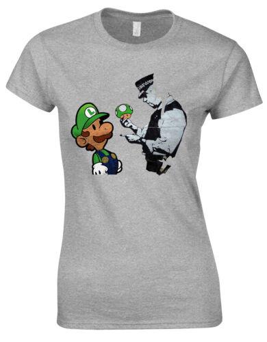 Banksy Mushroom GAMES Retro Graffiti Street Art Ladies Tshirt Tee Top AG62