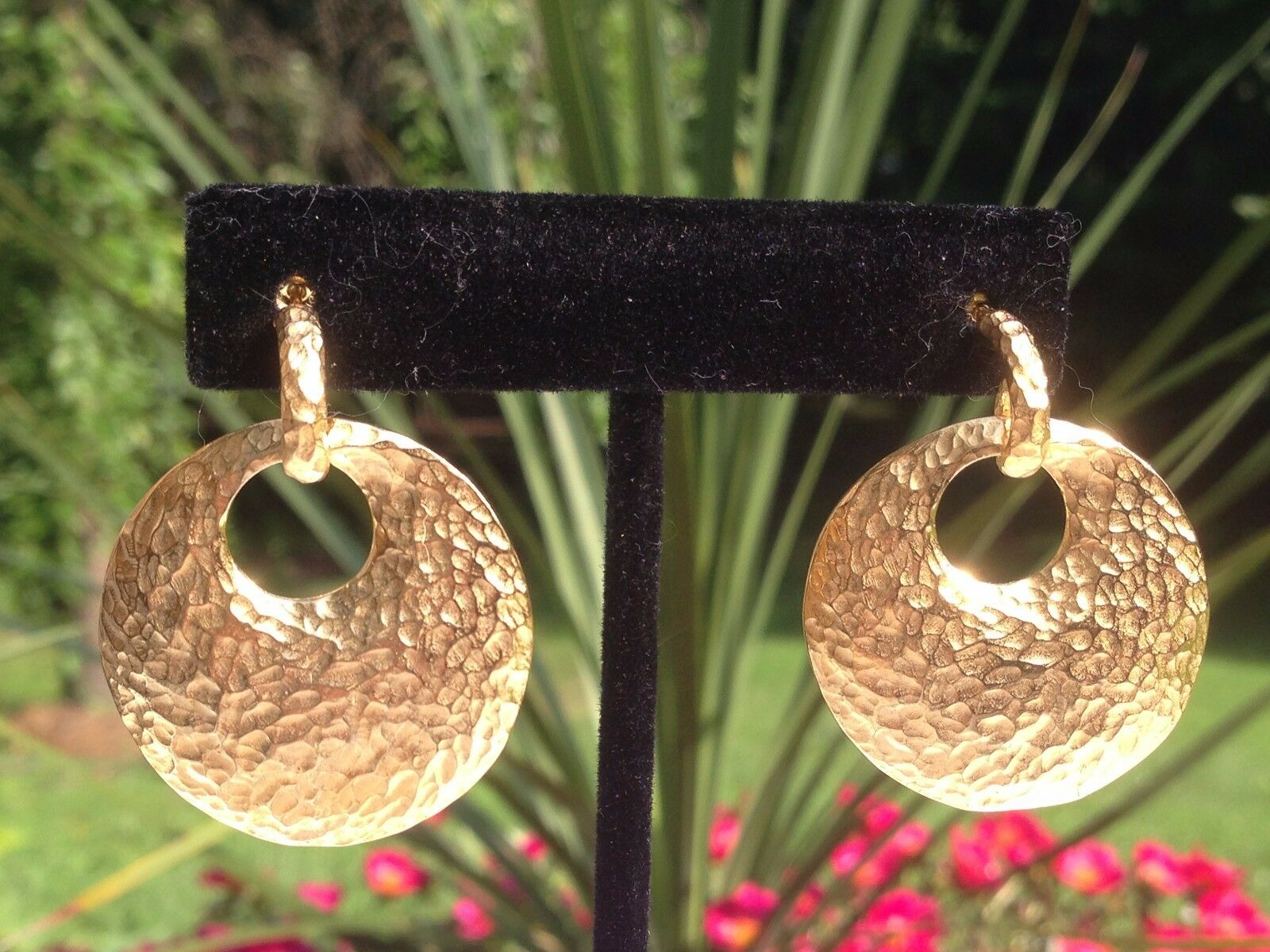 QVC Veronese 18K Clad Sterling Hammered Effect Earrings
