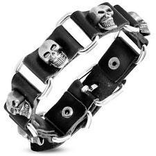 Genuine Black Leather Ghost Skull Stud Belt Buckle Biker Bracelet BHY585