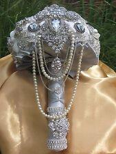 Silver vintage style bridal brooch bouquet,weddings, custom order,broach bouquet