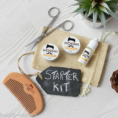Mo Bro's Grooming Kit- Moustache Wax, Beard Balm, Oil, Comb, Scissors & Gift Bag