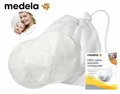 MEDELA NURSING BRA PADS COTTON BREAST MILK LEAKAGE PROTECTION WASHABLE x4 #89972