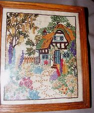 VINTAGE 1952 HAND EMBROIDERED, EMBROIDERY PICTURE STUMPWORK COTTAGE GARDEN