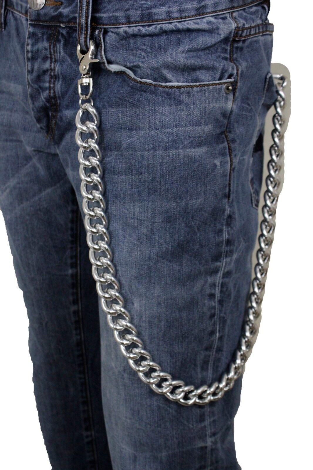 Men Silver Metal Wallet Chain Chunky Links Biker Fashion Jewelry Strong Heavy
