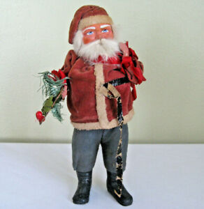Antique-Belsnickle-Candy-Container-Santa-Claus-Holly-amp-Tree-Branch-11-034-Tall