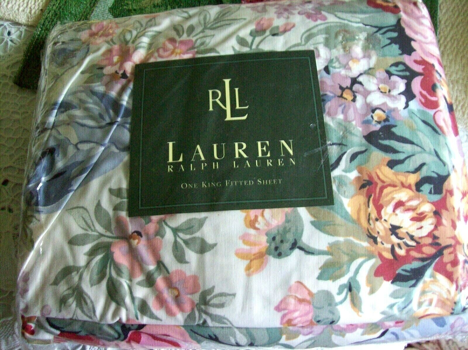 NIP Ralph Lauren ALLISON ll Multi pink Floral King Fitted Sheet White NEW RARE