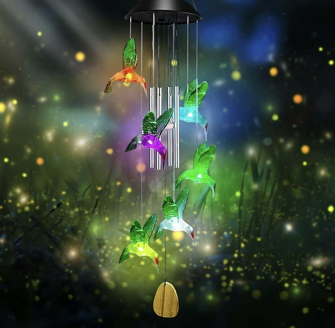YISUYA Solar Hummingbird Wind Chimes for Outside - Changing Colors..