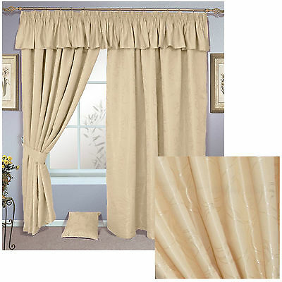 Sicily luxury lined pencil pleat curtains, pelmet or cushions CREAM **OFFER**