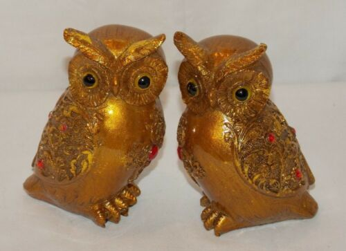 "NEW 2pc GOLD BIG EYED ORNATE OWL OWLS COUPLE STATUE FIGURE 3.75/"" TALL"