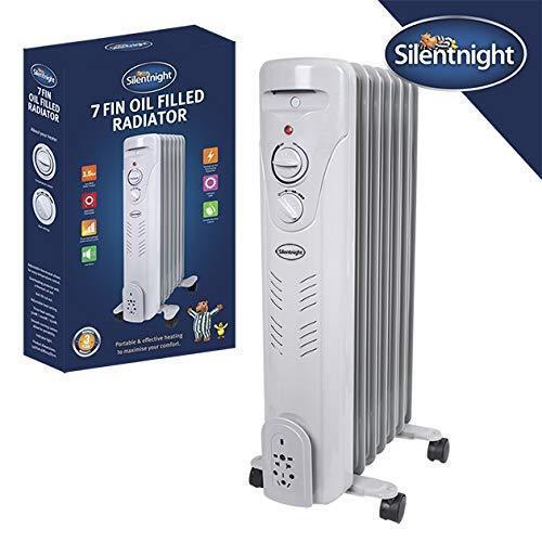 Silentnight 1500 W 1.5 kW 7 Fin Électrique Portable Radiateur Radiateur à Bain d/'Huile Blanc