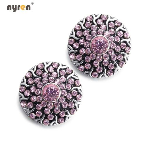 Rhinestone Chunk Snap Charms 18mm Snap Button For 20mm Snap Jewelry KM0017