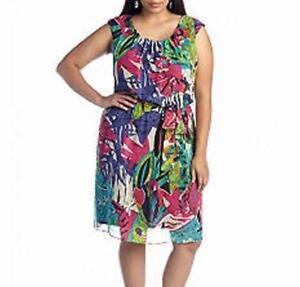 31e040fe31506 ROBBIE BEE® Plus Size 22W Tropical Floral Print Blouson Dress NWT ...