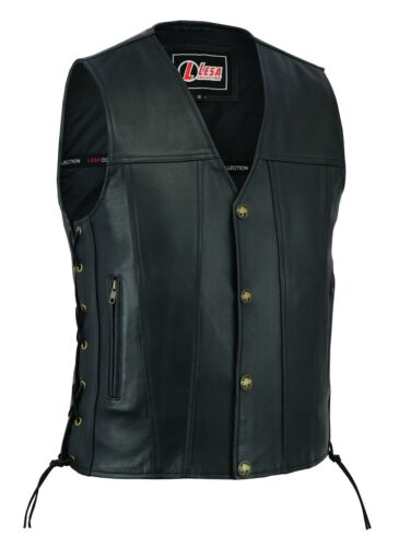 Mens Real Leather Biker Style Waistcoat Black Genuine Leather Motorcycle Vest