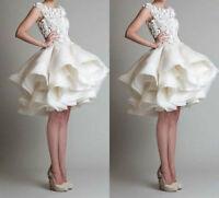 2016 Stock New Ivory/ White Short Wedding Dress Bridal Gown Size 6 8 10 12 14 16