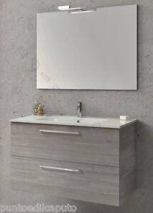 Dettagli su Mobile per bagno da cm 100 modello Easy grigio sabbiato  completo di specchio