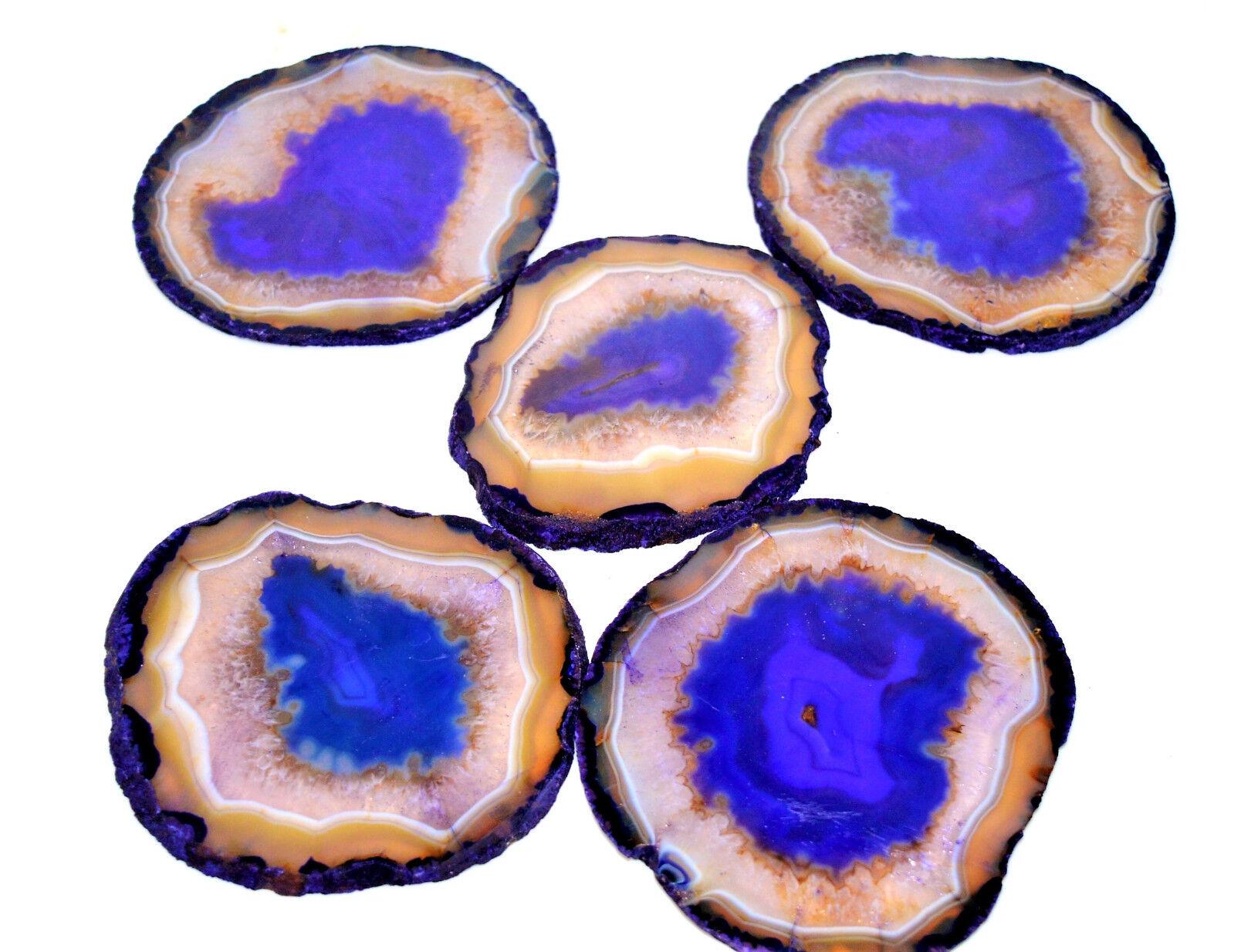 5 Pc 120MM bleu Onyx Agate Coasters Plate Slice Druzy Healing Power Spirit