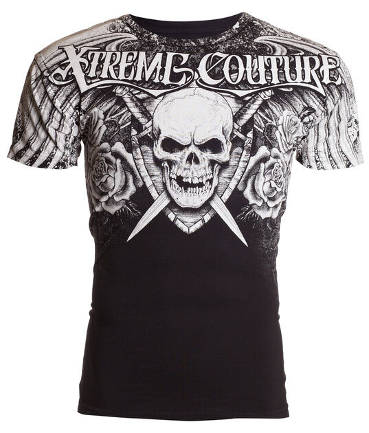 XTREME COUTURE by AFFLICTION Mens T-Shirt NINER Skull BLACK Tattoo Biker UFC $40