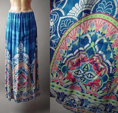Bold Exotic Global Boho Moroccan Ethnic Print Travel Long Maxi 136 mv Skirt M L