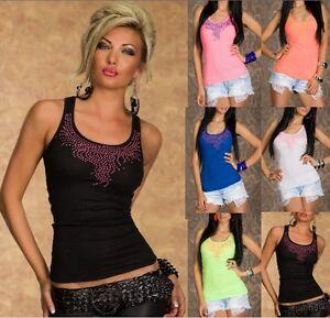 Top-Canotta-Donna-Maglietta-T-shirt-Enza-amp-Lea-DC07-B450-Tg-Unica