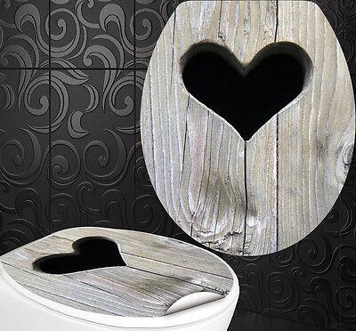 """WC Sitz Aufkleber """" HOLZ HERZ """" Design Folie Dekor Toilettendeckel Klodeckel"""