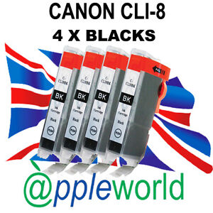 4-Canon-CLI8-BLACK-Chipped-Compatible-Ink-Cartridges