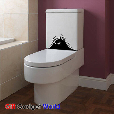 Toilet Peeking Evil Monster Home Funny Sticker Graphic Vinyl Decal Gift Decor