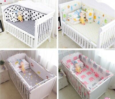 6PC Baby Crib Bumper Bedding Cot Protector Mat Infant Toddler Nursery Bed Cribs