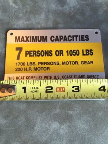 United Marine Corp Boat Capacity Plate~Tag~7 Person or 1050 Lbs~Renken~220HP