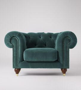 Swoon Winchester Stylish Kingfisher Sleek MTO Easy Velvet Armchair - RRP £999