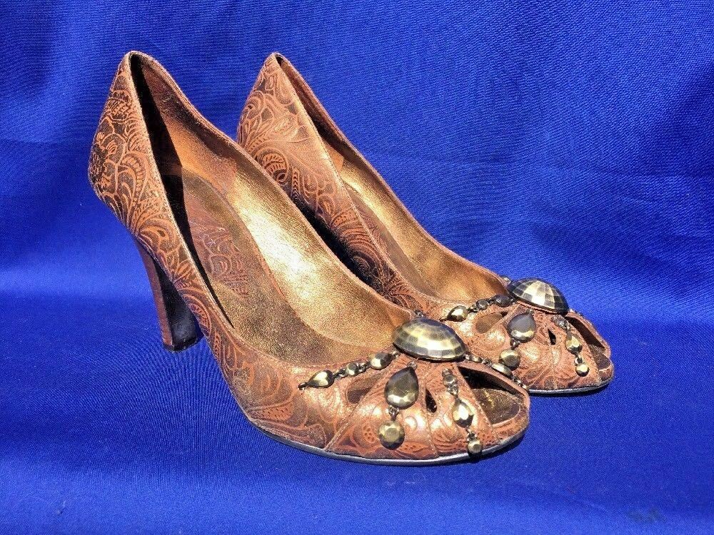 SALE @ NINE WEST Peep Toe Brass Bronze Button Pumps High Heels Womens shoes Sz 7