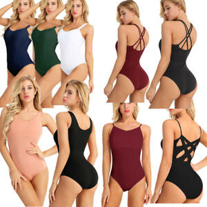 Womens-Ladies-Sleeveless-Gymnastics-Ballet-Leotard-Gym-Dance-Wear-Sport-Costume