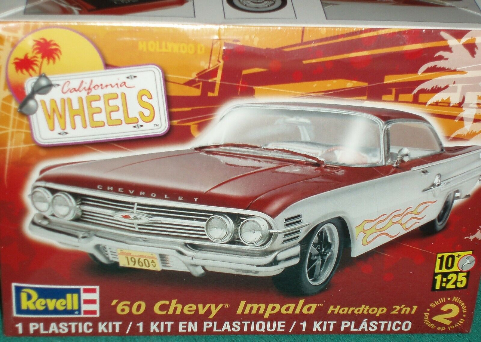 REVELL 1960 CHEVY IMPALA HARD TOP PLASTIC MODEL KIT 1/25 SKILL LEVEL 2 CA WHEELS