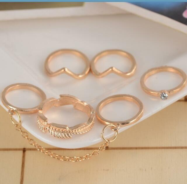 6pcs Fashion Gold Silver Leaf Knuckle Midi Stacking Chain Mid Finger Tip Rings