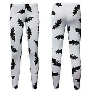 Halloween-Gothic-Bats-Print-Leggings-Fancy-Dress-Goth-Size-S-M-Fits-SIze-8-12