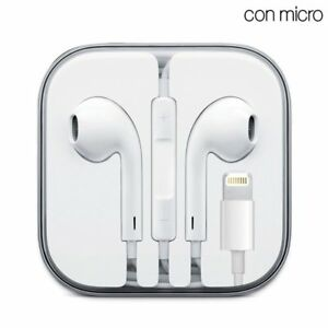 Auriculares-Blancos-Con-Micro-IPHONE-6-7-8-X-XS-Max-iPad-Lightning-Cable