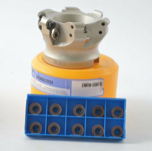 "EMR 6R-80-27-6F 80mm 3/"" indexable face milling cutter round inserts RPMT1204M0"