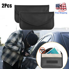 PU Leather Case 2 Pack RFID Blocking Faraday Bag Pouches for Keyless Car Signal Blocking Wallet for Car Keys Black Yunjiadodo Car Key Signal Blocker Pouch