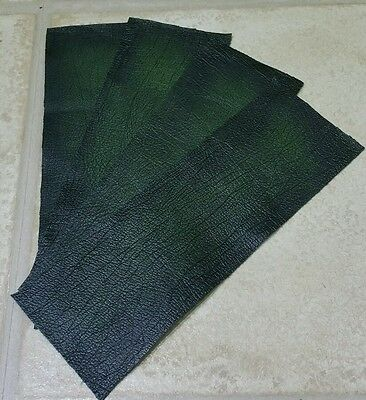 "Verde Antico Rub Off In Pelle 100% 9"" × 3"" Ritagli X4 1.1mm Craft Patch Repar-"