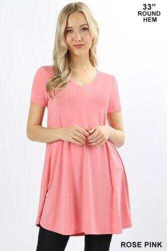 Women/'s V-Neck Short Sleeve Round Hem Flared Knit Tunic Top Side Pockets S~3XL
